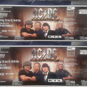 2 AC/DC Tickets Köln Jahnwiese 19.06.2015 Ausverkauft